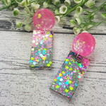 Super Sparkly Mermaid Twinkle Resin - Rectangle Stud Dangle earrings