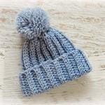 Newborn Blue Grey Ribbed Crocheted Baby Beanie with Pompom