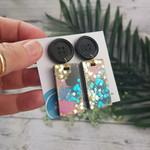 Super Sparkly Blue Moon Resin - Rectangle Stud Dangle earrings