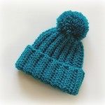 Newborn Peacock Green Ribbed Crocheted Baby Beanie with Pompom