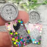Super Sparkly Fairy Resin - Rectangle Stud Dangle earrings