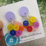 Teeny Tiny Buttons in Resin - Circle Stud Dangle earrings