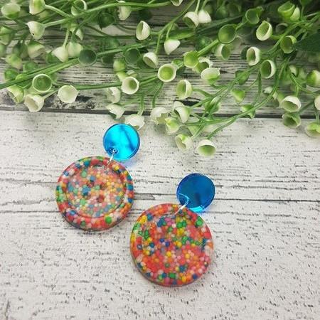 Sprinkles - 100s $ 1000s - Button Shape Stud Dangle earrings