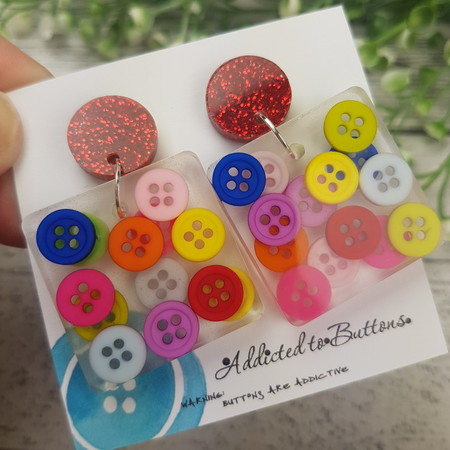 Teeny Tiny Buttons in Resin - Square Stud Dangle earrings