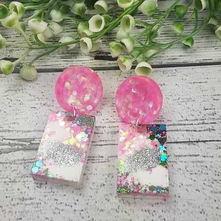 Super Sparkly clouds Resin - Rectangle Stud Dangle earrings