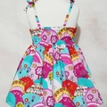 Girls Party Dress Elastic Back Tie Straps Size 2