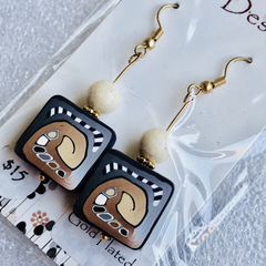 Clearance - Cream, brown and black polymer clay drop earrings