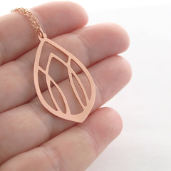 Art Deco Style Hand Cut Copper Pendant And Copper Chain