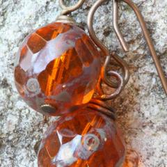 Czech Glass Drop Earrings in Burnt Orange & Brass