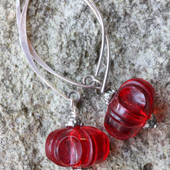 Vintage Ruby Red Lucite & Sterling Leaf Wire Earrings
