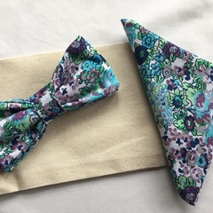 Green, Blue & Purple Floral Bow Tie with Pocket Square