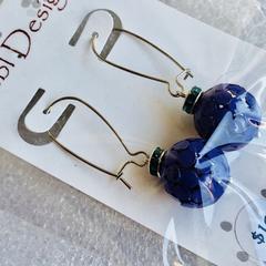 Clearance - Dark Green and Purple Filigree Earrings