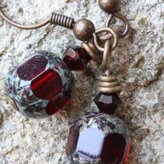 Czech Glass Drop Earrings in Deep Garnet & Brass