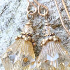 Czech Glass Drop Earrings in Fluted Firepolish & Brass