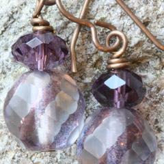 Czech Glass Drop Earrings in Light Amethyst & Brass
