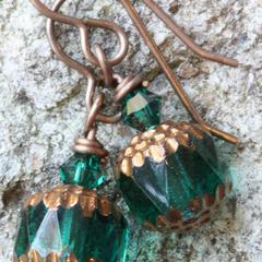 Cathedral Czech Glass Drop Earrings in Teal & Brass