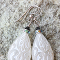 Vintage White Etched Teardrop Earrings