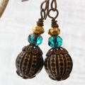 Vintage Black & Gold  Etched Rounds with Fire Polished Beads Earrings