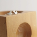Silver Duck Earrings, Sterling Silver Duck Studs