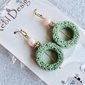 Clearance - Green and Pale Pink Earrings