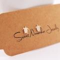 Sea Turtle Stud Earrings, Sterling Silver, Handmade