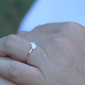 Sterling Silver Bunny Ring- Hammered Band Stacking Ring