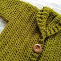 Moss Green Hand Crocheted Baby Cardigan 0-3 months