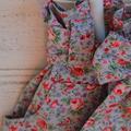 Girls floral skirt with wide sash, elastic waist skirt