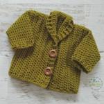 Moss Green Hand Crocheted Baby Cardigan 0-3 months