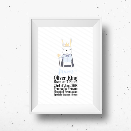 Personalised Baby King Rabbit Birth Detail Print Custom Name Print New Baby Gift
