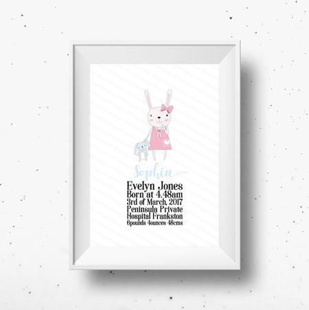 Personalised Baby Girl Rabbit Birth Detail Print Custom Name Print New Baby Gift