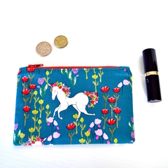 Unicorn coin purse, gift for girl, small change zipper pouch,