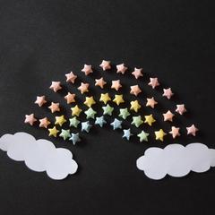 10 mini origami paper stars in pastel rainbow colours