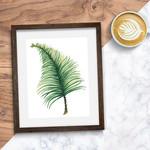 Watercolour Palm Leaf 8 x 10 on A4 Giclee Print Botanical Rainforest Wall Decor