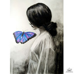 """Butterfly Girl"" Watercolour, Graphite & Charcoal Artwork 29cm (W) x 42cm (H) A3"