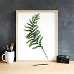 Watercolour Fern Leaf 5 x 7 on A5 Giclee Print Botanical Rainforest Wall Decor