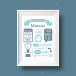 Personalised Baby Birth Detail Print  New Baby Gift Modern Nursery Decor
