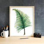 Watercolour Palm Leaf 5 x 7 on A5 Giclee Print Botanical Rainforest Wall Decor