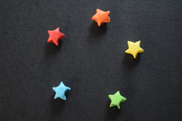 10 Mini Origami Paper Stars In Rainbow Colours