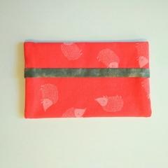 Small Tissue Holder - Red/Pink Hedgehog - Handbag Accessory - Practical Gift
