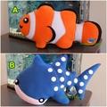Clown Fish Whale Shark Pillow Plush Nemo Fish Softie Soft Toy Nursery Home Decor