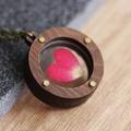 Real Rose Petal Heart Flower Locket / Unique Pendant / Dried Pressed Flower / Wo