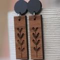 Etched Tree Timber Earrings / Dangle Wood Stud Earrings / Dandelion Wish Earring