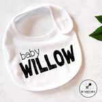 Personalised Baby Bib, new born or baby shower gift Monochrome or colour Name