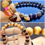 Swarovski Crystal Skull Bracelet with Gold Tiger Eye & Tibetan Dzi Beads