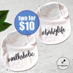 Set of 2 Baby Bibs #milkaholic   #babylife   Baby Shower   New Born Gift