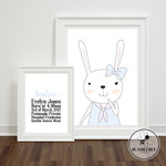 Set of 2 baby bunny birth stats announcement modern nursery decor