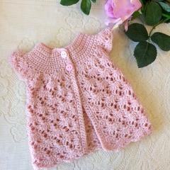 Crocheted baby jacket, handmade babygirl crocheted top. Baby sweater, newborn pi