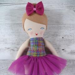 Tiffany - Handmade rag doll, 38cm, fabric doll, ballerina doll.