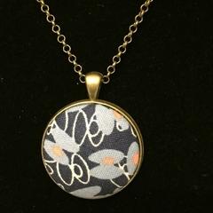Antique Bronze Necklace with fabric pendant